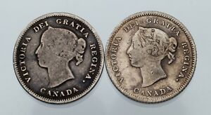 Lot-of-2-Canadian-Silver-5C-Pieces-1880-H-VF-1886-Fine-KM-2