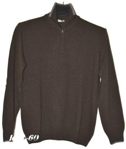 Maglia uomo lana TAGLIE FORTI 3XL pullover collo alto zip MADE IN ITALY marrone
