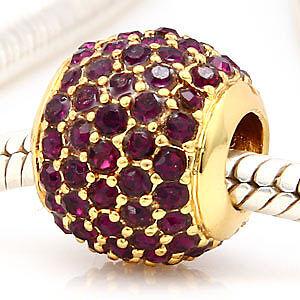 regalo Original 24k oro bead pilar con amethystfarbenen cristal piedras