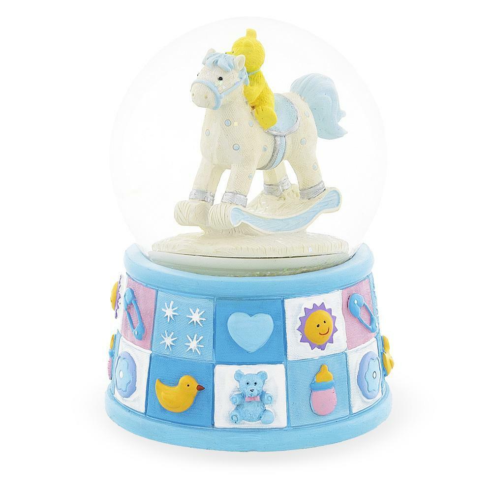 Pink or Blue Gisela Graham Baby Boy or Girl Mini Glitter Globe Snow dome
