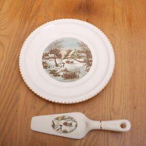 Harkerware Currier and Ives Platter and Cake Server Winter Scenes   eBay