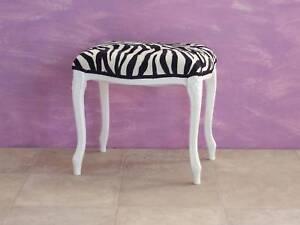 Pouff sgabello laccato bianco in tessuto zebrato ebay