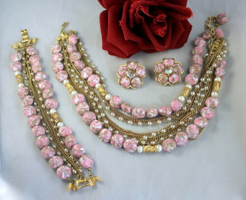 Vintage Kramer Pink Gold tone Faux Pearl Necklace