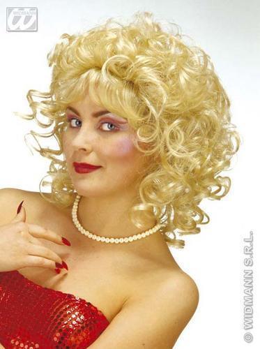 Onorevoli Bionda Parrucca Riccia Saloon Western GIRL MADAME FANCY DRESS