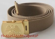 "NEW GOLD EAGLE ADJUSTABLE 56"" INCH KHAKI CANVAS MILITARY GOLF WEB BELT BUCKLE"