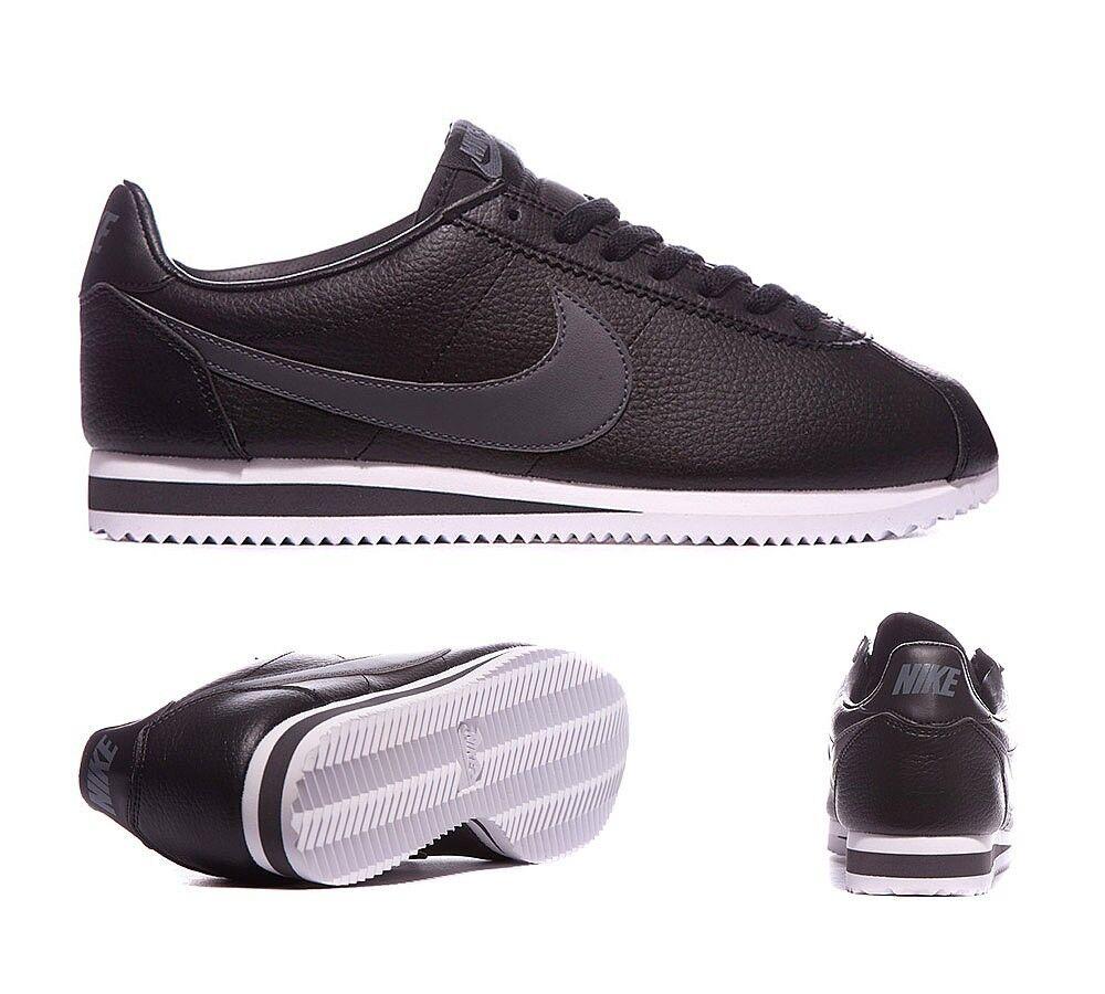 Nike Cortez Cuir Baskets Noir/Gris Foncé Taille 12  Neuf en Boîte RRP £ 65 -