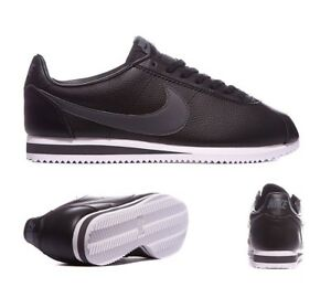 Nike Cortez Leather Trainers Black/Dark Grey Size 11 BRAND NEW UNUSED