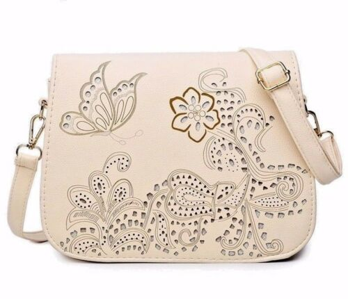 Box Cut Women/'s Purse Butterfly /& Flowers Cream Bag Cross-over Faux Leather