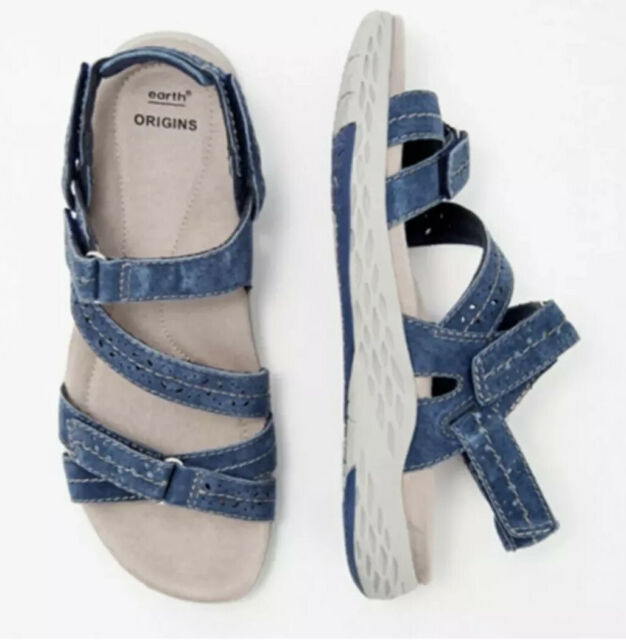 Earth Origins Suede Adjustable Sport Sandals Size 7W 7 Westfield Wendy Navy Blue