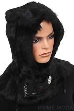 NEW MONCLER LADIES LUXURY LOGO BLACK RABBIT FUR NYLON HOOD ON HAT M