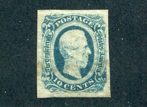 1863 U.S. Scott #12 Ten Cent Confederate States Stamp Used