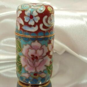 Gorgeous-Colorful-Round-Flower-Motif-Cloisonne-Collectible-Trinket-Box-702jn9