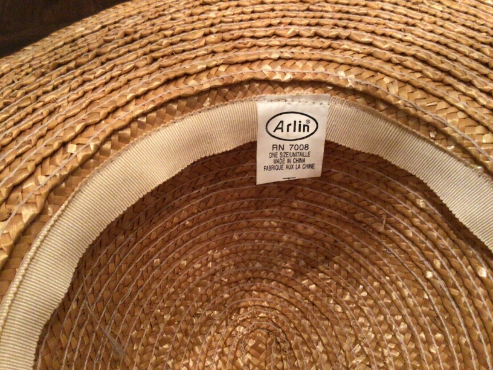 VINTAGE ARLIN WIDE BRIMMED STRAW HAT - image 4