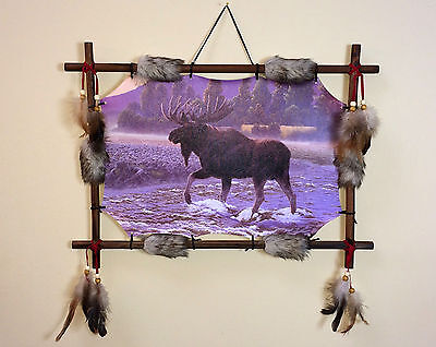 Moose Scene Dream Catcher Wall Hanging Canvas 16 x 22 Beads Feathers Framed