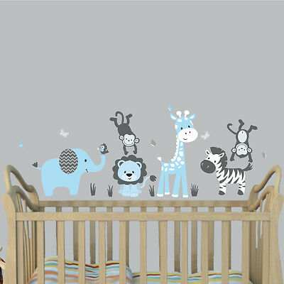 Jungle Animal Decal, Nursery Boys Room Wall Sticker, Jungle Animal Wall Mural