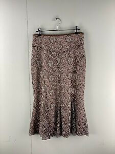 Anthea Crawford Collection Womens Long Lined Embroidered Skirt Size 8 Black Pink