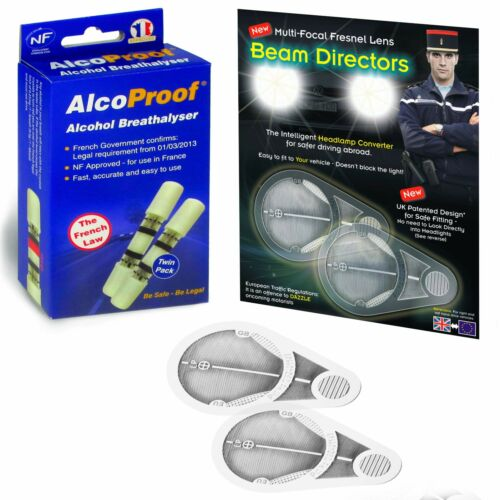 Headlamp Beam Adaptors Fresnal Lens Head Light Convertors 2 French Breathalyser