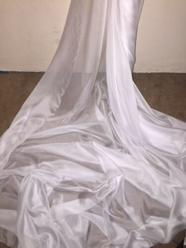 "1 MTR WHITE CATIONIC TWO TONE SHEER BRIDAL DRESS CHIFFON FABRIC...58/"" WIDE £2.50"