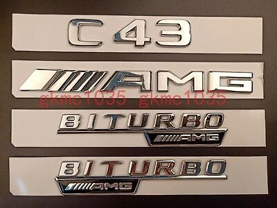 Gloss Black Badge Sticker for Mercedes Benz 2018 Flat C43 AMG BITURBO 4MATIC