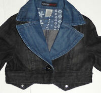 NEW GUESS CROP DENIM JACKET GIRLS SIZE 8-9 YEARS BLACK BLUE STYLISH AUTHENTIC