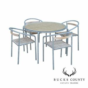 Galvanized Patio Furniture.Details About Teak And Galvanized Steel Round Patio Table 4 Chairs Dining Set B