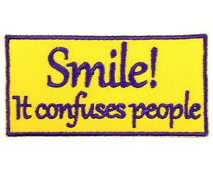 SMILE IF YOUR HORNY Embroidered Hook Loop Patch Funny Saying Badge Applique