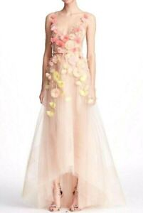 New-Marchesa-Notte-3D-Floral-Petal-Embroidered-Blush-Long-Maxi-Dress-Gown-US-16