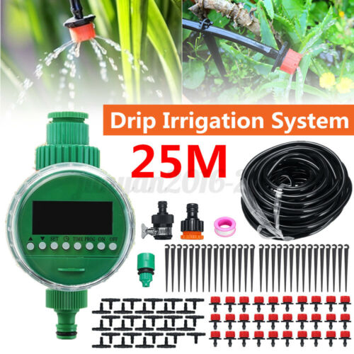 5-25M Micro Drip Irrigation Auto Timer Self Plant Watering Garden Hose System
