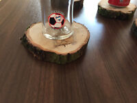 Baumscheibe, rustikal, Vollholz, Untersetzer für Gläser, Eiche, 6 Stk., Tisch