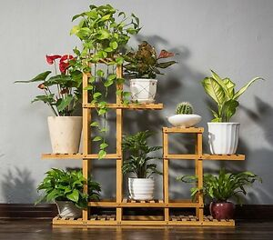 Image Is Loading Bamboo Wooden Plant Stand Garden Planter Flower Pots