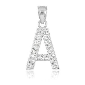 10k white gold letter a initial pendant necklace with diamond 018 image is loading 10k white gold letter 034 a 034 initial mozeypictures Image collections