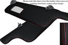 Rojo Stitch encaja Seat Ibiza Mk2 Cordoba 93-99 2x Sol Viseras Cuero cubre sólo