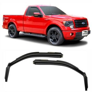 2 Pieces Window Deflectors Vent Window Visors Voron Glass in-Channel Extra Durable Rain Guards for Trucks Ford F-150 2009-2014 Regular Cab 210016