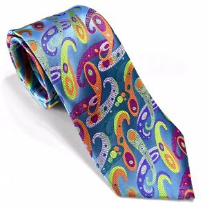 RARE NEW Geometric Royal Blue Tie 100/% Silk Lawrence Ivey Multi-color Necktie