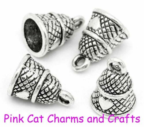 10 x Tibetan Silver THIMBLE WITH HEART SEWING NEEDLEWORK 3D 15mm Charms Pendants