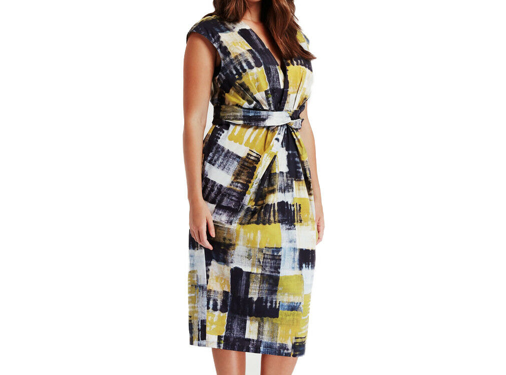 MARINA RINALDI Women's Multi Multi Multi Devon Wrap Front Sheath Dress  960 NWT 637f14