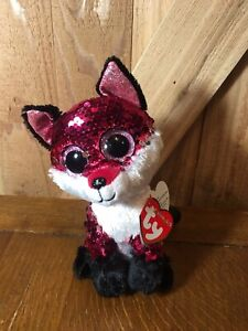 """Beanie Boos Ty Flippables Flip Sequins Jewel Red Fox 6"""" B-day August 22nd"""