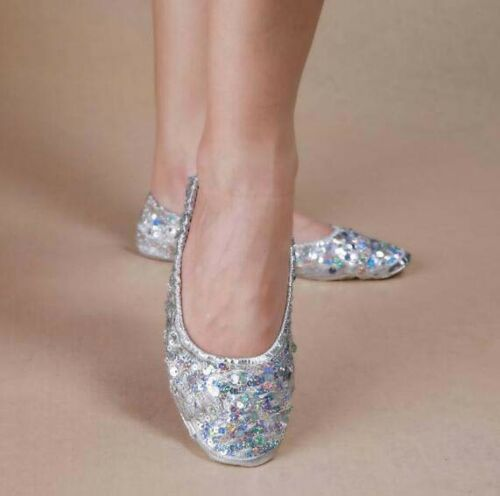 Gold Belly Dance Shoes Women Ballerina Dancing Practice Shoes Sequins Soft Shoes