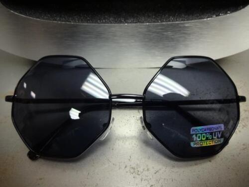 CLASSIC VINTAGE RETRO BOLD Style SUN GLASSES Rare Octagon Black Frame Dark Lens