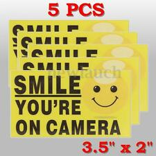 """5x Smile You're On Camera 3.5""""x2"""" Video Alarm Safety Stickers Signs Vinyl Decal"""