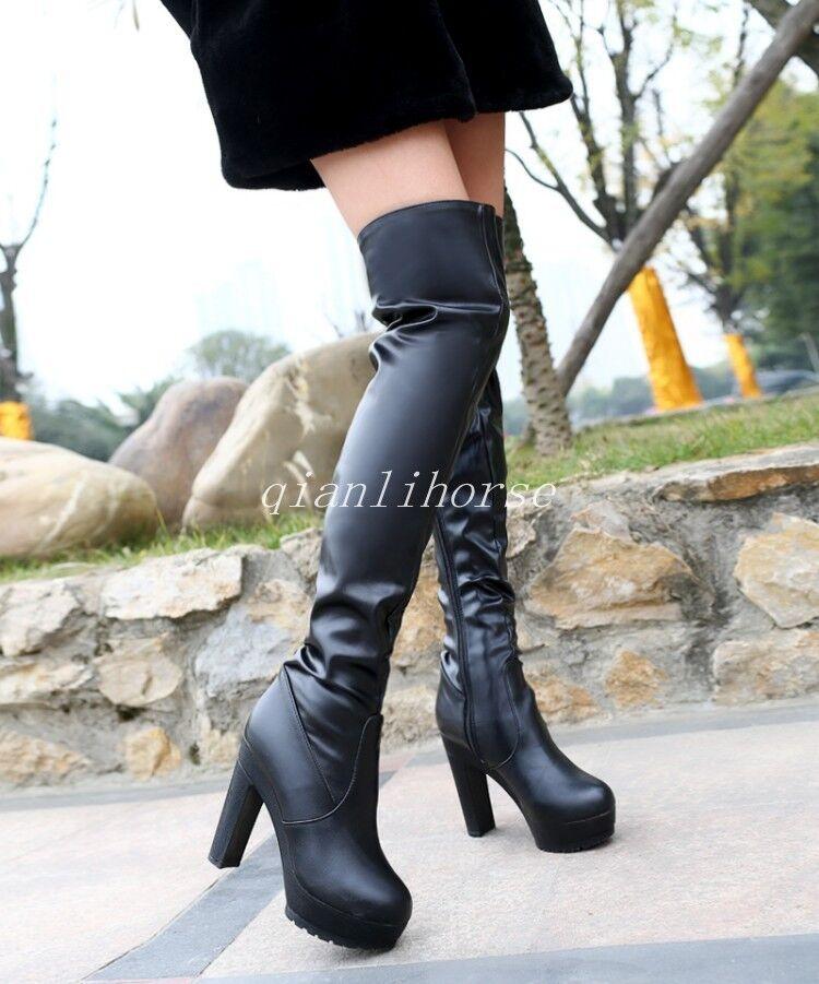 Donna Over The Knee Stivali Zipper Round Toe Platform Heel High Heel Platform Roman Riding Shoes 5e8b77