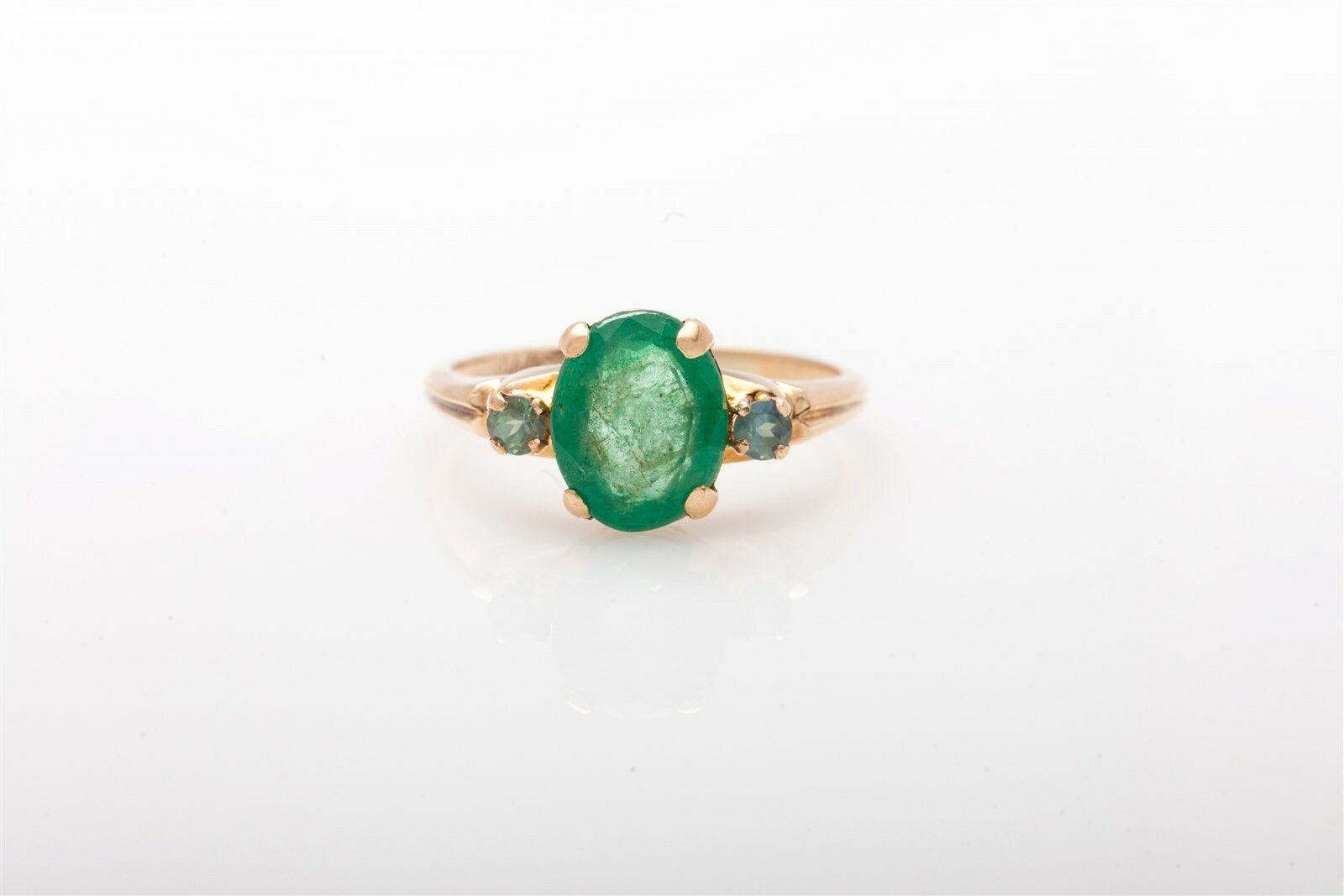 Antique 1930s DECO  3000 3ct Natural Emerald Alexandrite 10k Yellow gold Ring