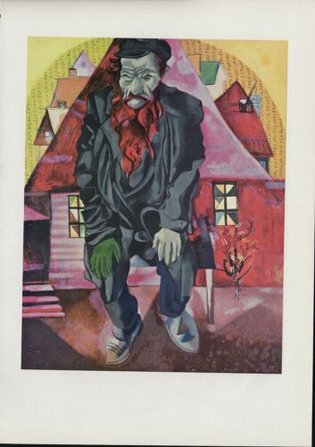 "1914//15/"" by MARC CHAGALL COLOR Art Lithograph 1963 Vintage /""JEW IN BRIGHT RED"