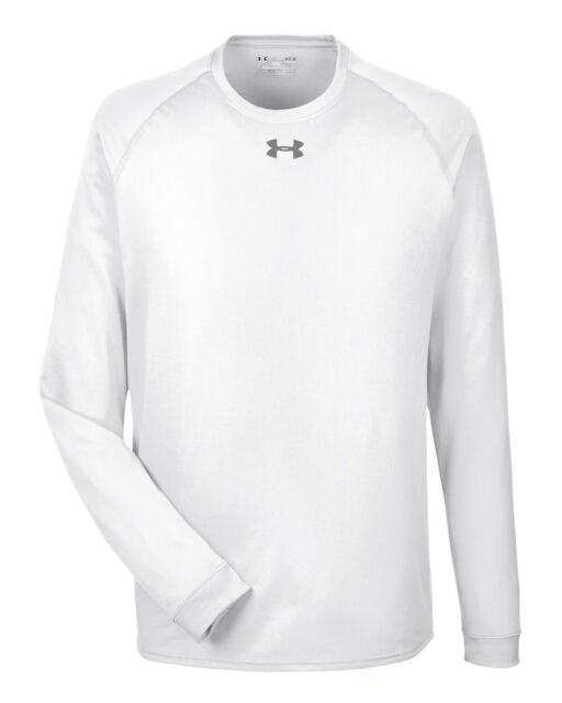 23db0f72d NWT Under Men's Armour Team Locker White Long Sleeve T-Shirt 1268475-100 SZ