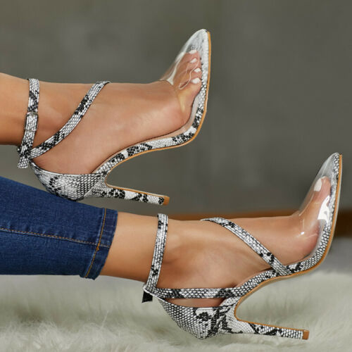 Details about  /Fashion Women Snake Pattern Transparent Pointed High Heels Pumps Stilettos Shoes