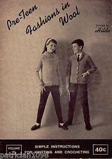 Hilde Pre Teen Fashions Knitting Patterns Children Sweater Cardigan Jacket 1961
