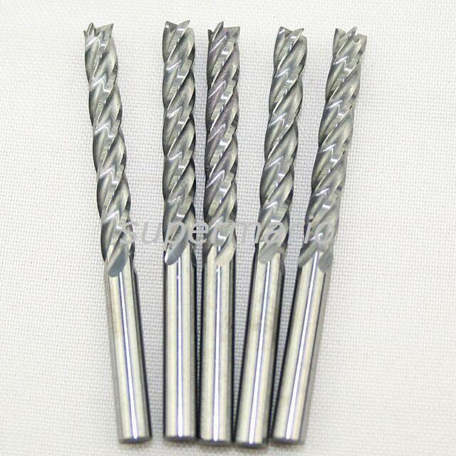 5x 1/8'' 3.175mm HQ Carbide CNC Four 4 Flute Spiral Bit End Mill Cutter CEL 22mm