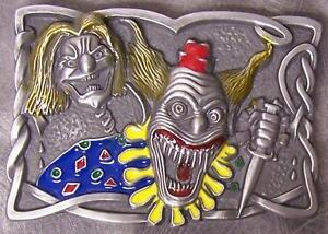 Metal Belt Buckle Pyscho Circus Clown NEW