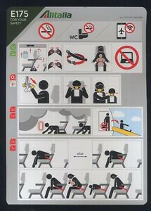 ALITALIA-new-STYLE-Embraer-E-175-airline-SAFETY-CARD-airways-sc736-ax