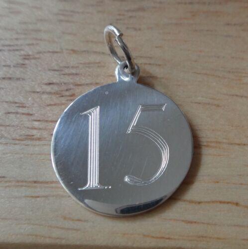 Sterling Silver 15 mm numéro 15 Quinzième anniversaire anniversaire engraveable charme